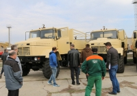 Foreign Customer Inspects a Batch of KrAZ Trucks Ready for Shipment