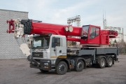 50 tons load carrying capacity crane truck based on the KrAZ-7133Н4 chassis appeared in the range of similar KrAZ special equipment